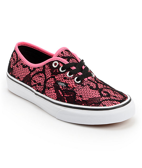 22d7b04dc6 Vans Authentic Neon Pink   Lace Shoes