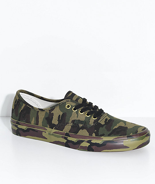 fda4e5f4fcee43 Vans Authentic Olive Camo Skate Shoes
