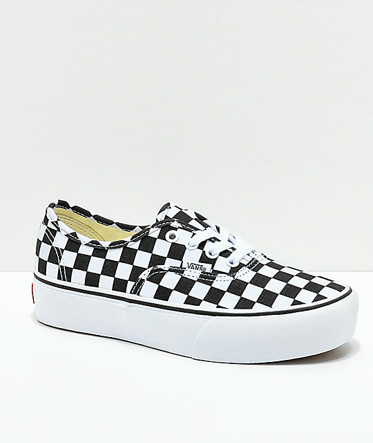 Vans Authentic Platform 2.0 Black   White Checkerboard Shoes  d9ef6a6ec