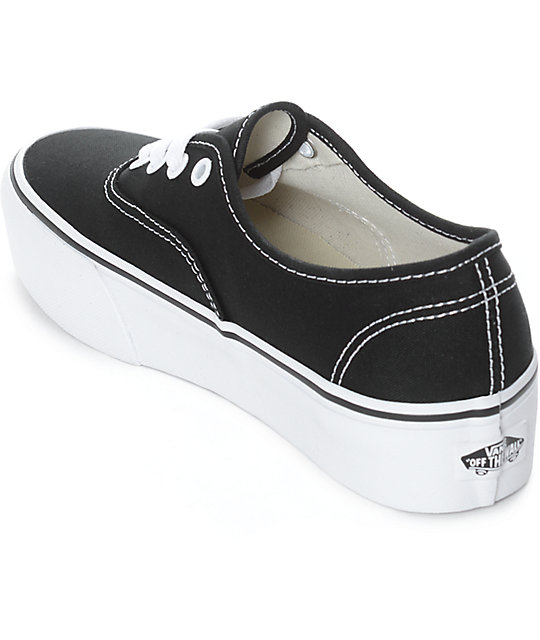vans authentic black platform