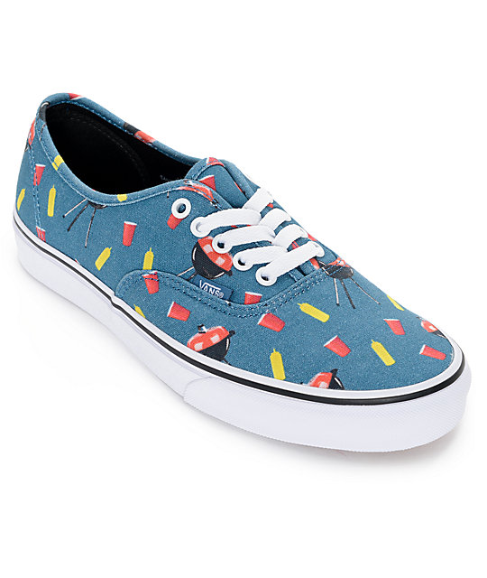 10e0974e1bd180 Vans Authentic Pool Vibes Blue and White Skate Shoes