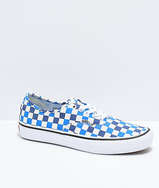 Vans Authentic Pro Blue Blunt   Off-White Checkered Skate Shoes  a07d54ce5