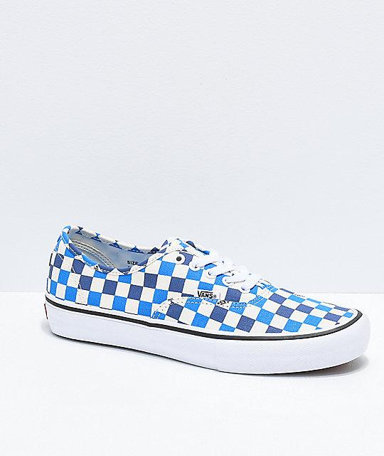 Pro de Authentic de azules skate cuadros zaptos Vans 75qwRB