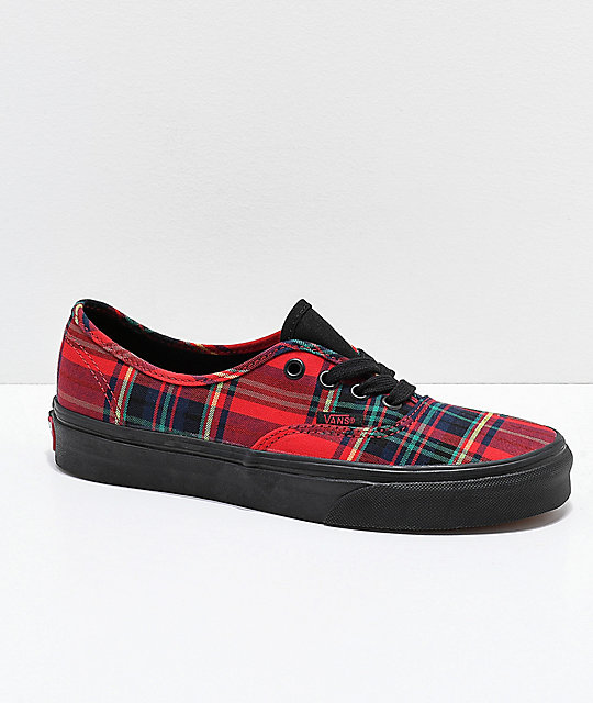 Vans Authentic Red Plaid Mix Skate Shoes