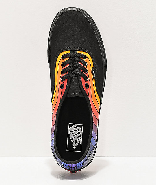 Vans Authentic Refract Black, Orange & Purple Skate Shoes