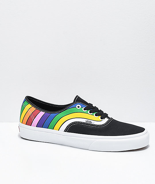 Vans Authentic Refract Black, White & Rainbow Skate Shoes