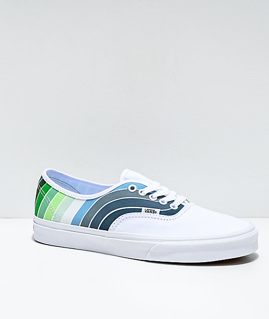 Authentic Vans, white with blue stripe! Check these out in