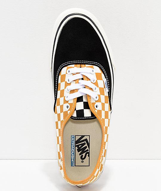 48bba72fa313a Vans Authentic SF Checkerboard Sunflower & Black Skate Shoes | Zumiez.ca