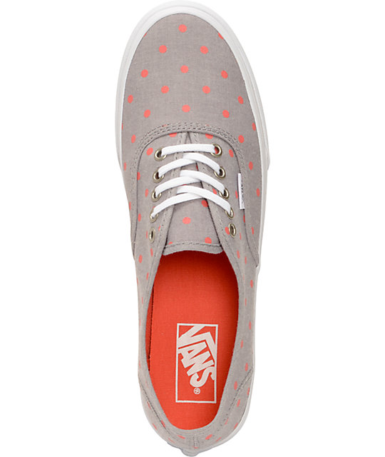 a7133537a4 ... Vans Authentic Slim Grey Chambray   Coral Polka Dot Shoes ...