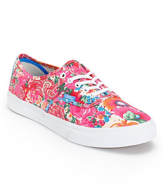 4ab99042ec9fb5 Vans Authentic Slim Pink   White Floral Print Shoes