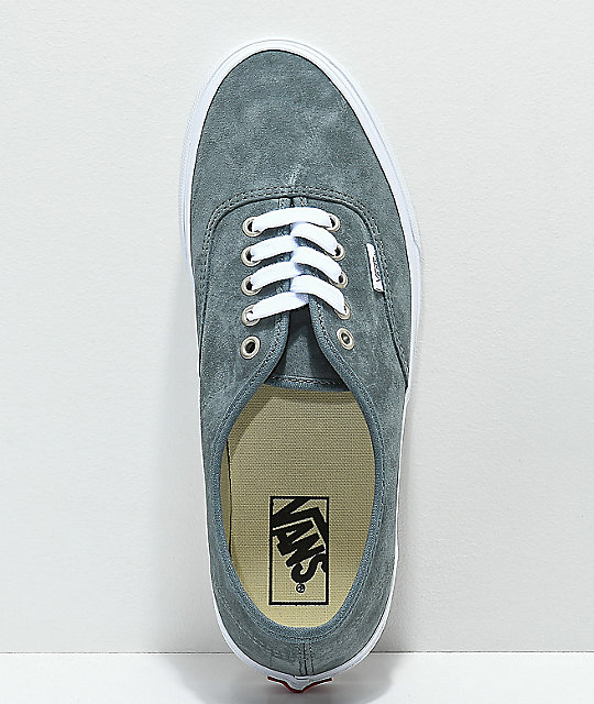 1d66fb9205 ... Vans Authentic Stormy Grey   White Pig Suede Skate Shoes ...