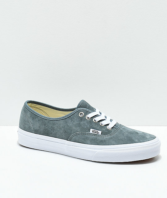 Vans Authentic Stormy Grey   White Pig Suede Skate Shoes  edbef0fdef7