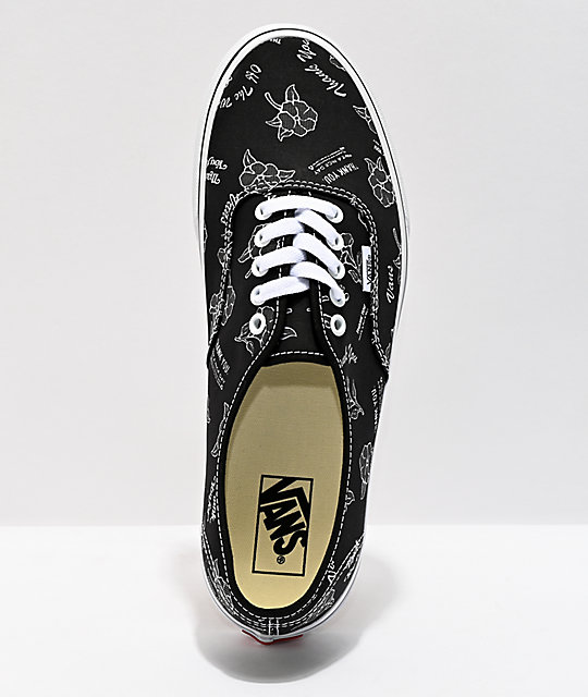 Vans Authentic Thank You Black & Floral Skate Shoes
