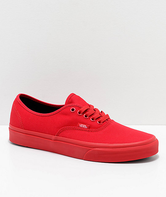 vans authentic true red & noir skate chaussures