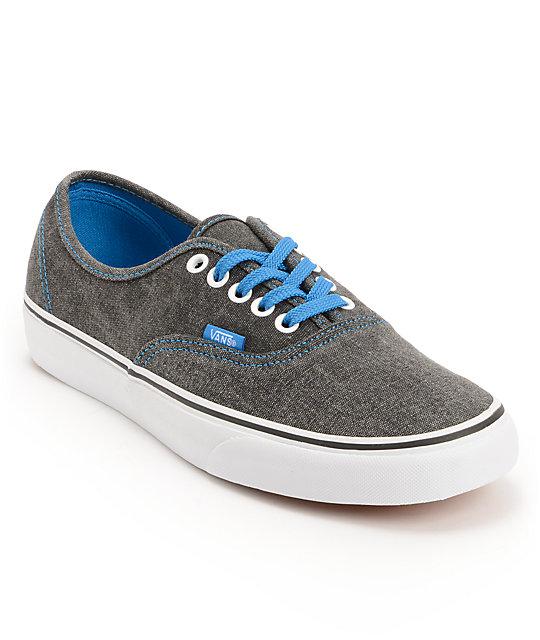 938c4578a9561a Vans Authentic Washed Black   Blue Canvas Skate Shoes