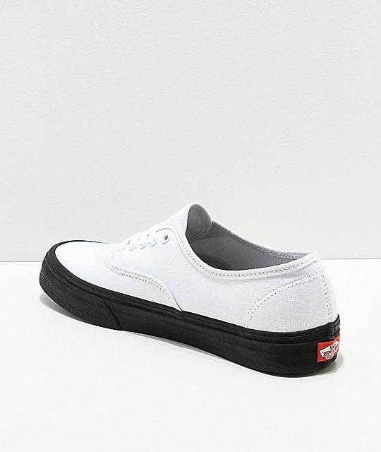 fcbbbedcda ... Vans Authentic White   Black Sole Skate Shoes ...