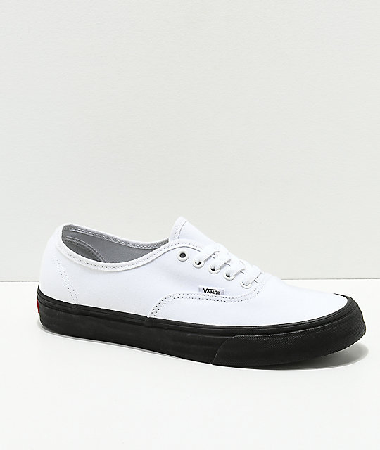 Vans Authentic White   Black Sole Skate Shoes  6a12f28c2
