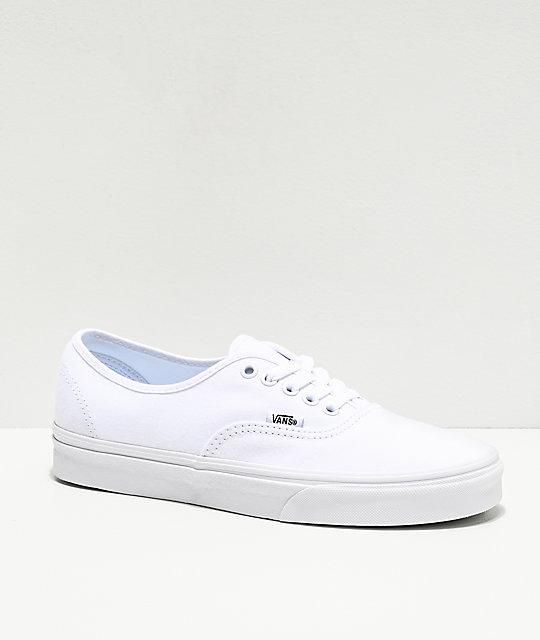 57ee45e53595a0 Vans Authentic White Canvas Skate Shoes