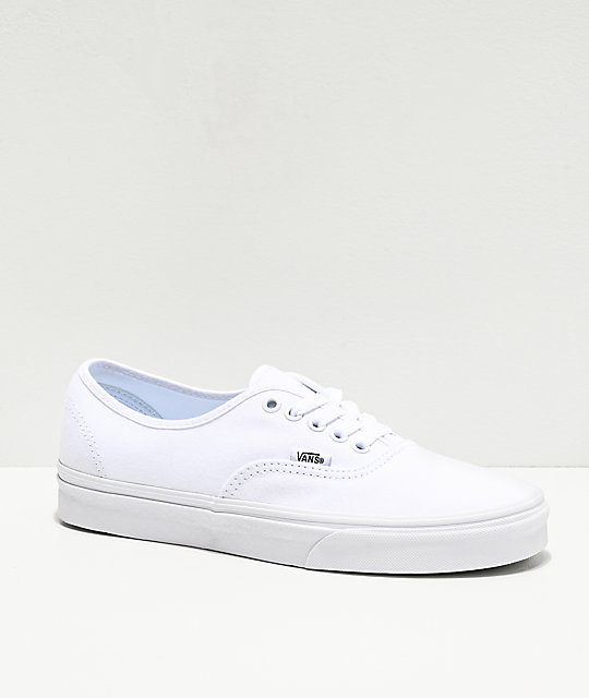 Vans Authentic White Canvas Skate Shoes