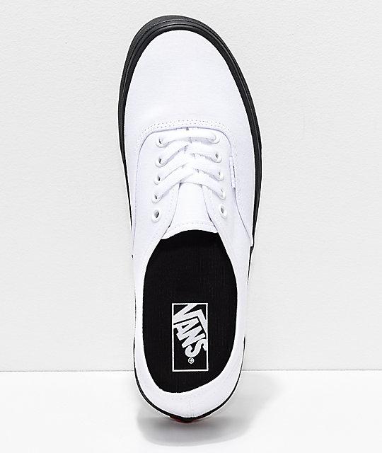 e9d3a7d2aa83e8 ... Vans Authentic zapatos de skate en blanco con suela negra ...