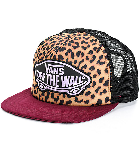 Vans Beach Girl Burgundy Leopard Trucker Hat  b2de95fff72