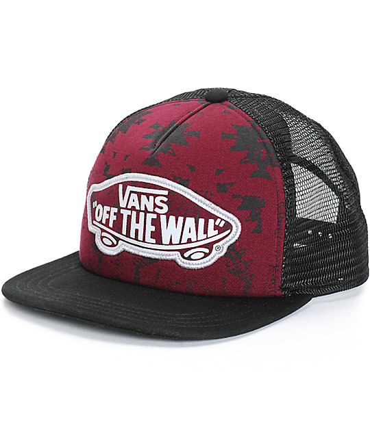 Vans Beach Girl Burgundy Tribal Trucker Hat  626746249b5