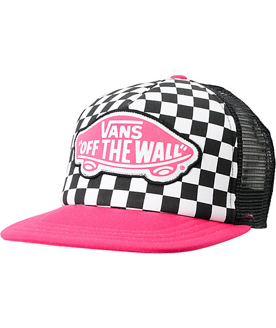 7c64f2deaf0ee1 Vans Beach Girl Checker Black   Pink Snapback Trucker Hat