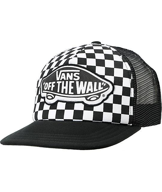 f469bcf39d5 Vans Beach Girl Checker Black Snapback Trucker Hat