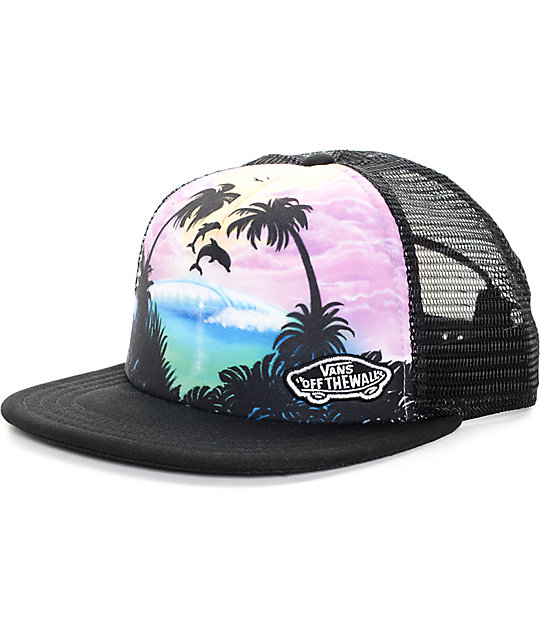 54c3291d97025 Vans Beach Girl Dolphin Black Trucker Hat