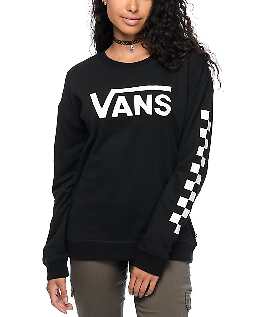 81396a3cdea94 Vans Big Fun Checkerboard sudadera con cuello redondo en blanco y negro ...