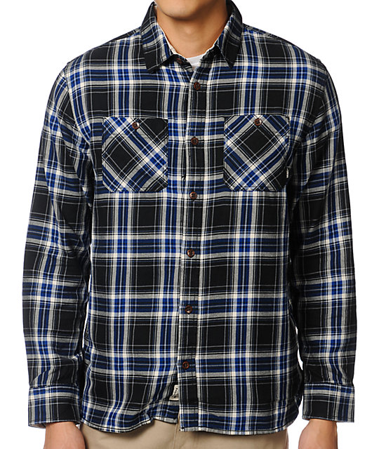 31fb8747c7 Vans Birch Black & Blue Plaid Flannel Shirt