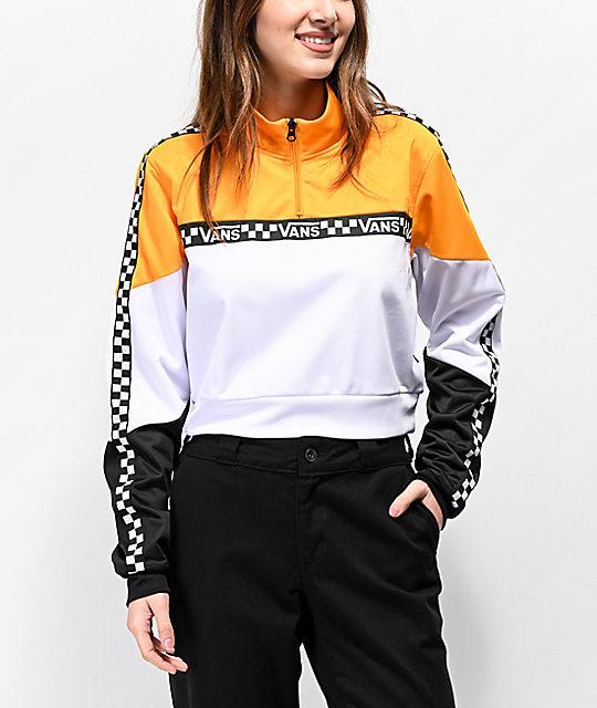 Vans Black, White & Yellow Half Zip Crop Windbreaker Jacket