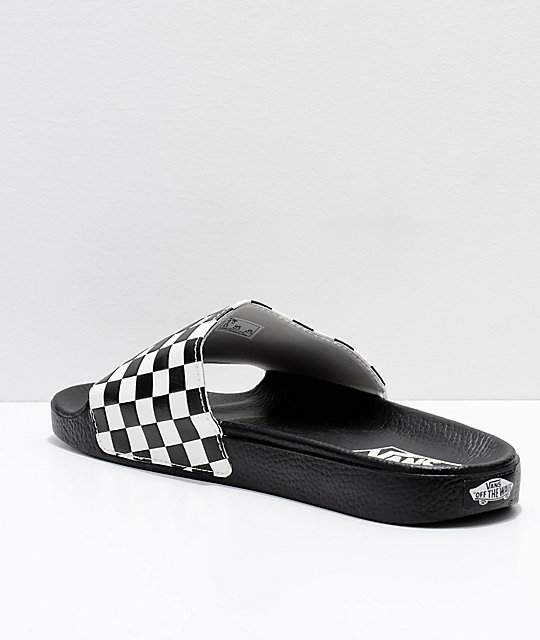 Vans Black & White Checkerboard Slide On Sandals