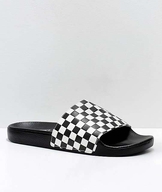 1681188e479 Vans Black   White Checkerboard Slide On Sandals