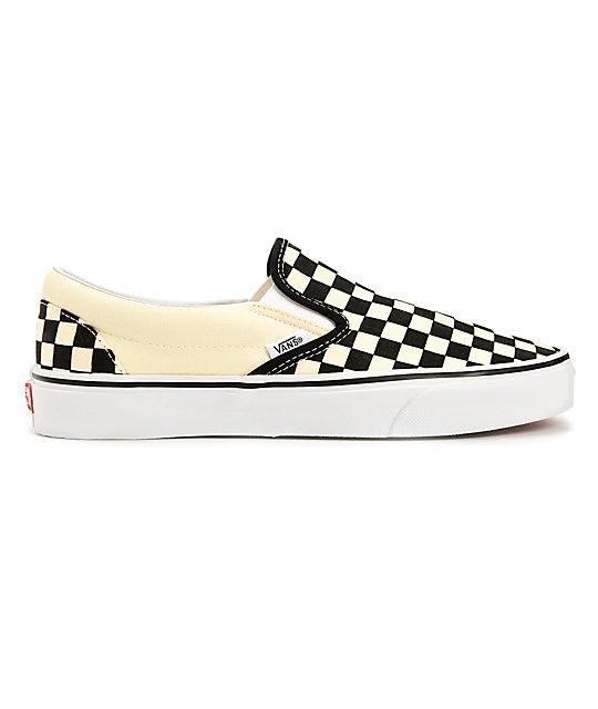 Vans Black White Checkered Slip On Canvas Skate Shoes Womens