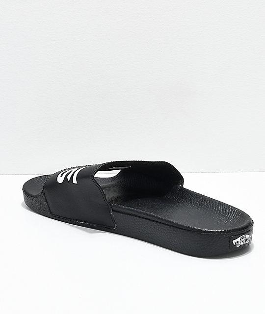 Vans Black & White Slide On Sandals | Zumiez