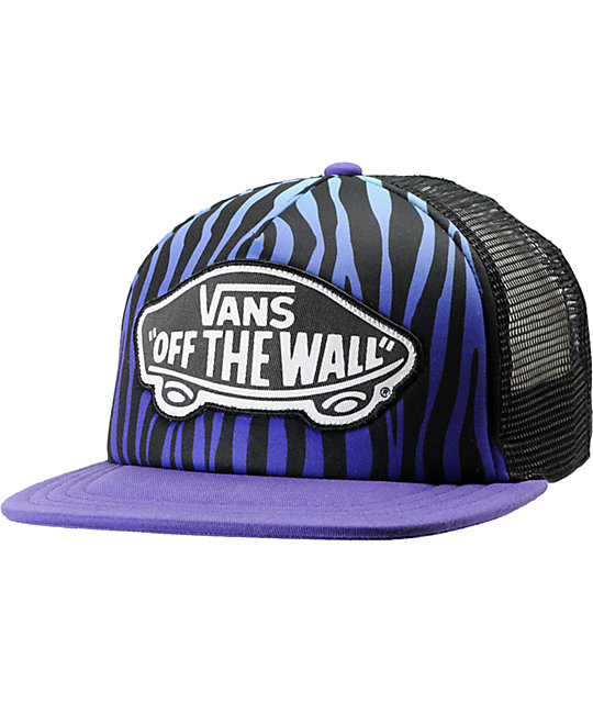 Vans Blue & Purple Zebra Print Trucker Hat