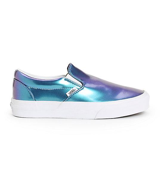 e18bbf78ec1901 ... Vans Blue Patent Leather Slip-On Shoes