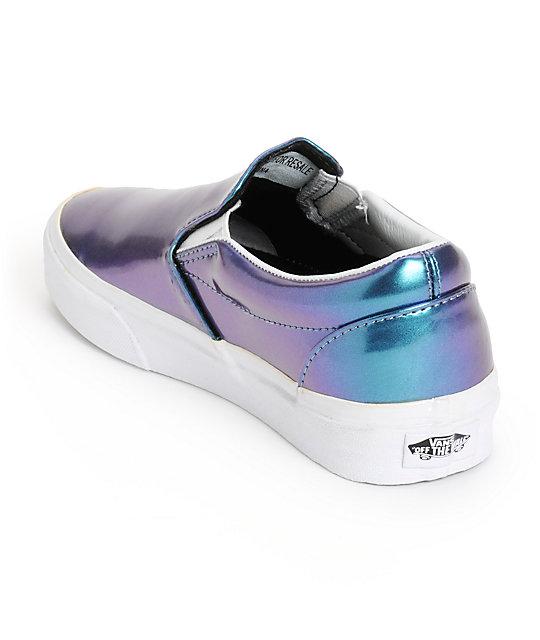 c1d6e697d77086 ... Vans Blue Patent Leather Slip-On Shoes ...