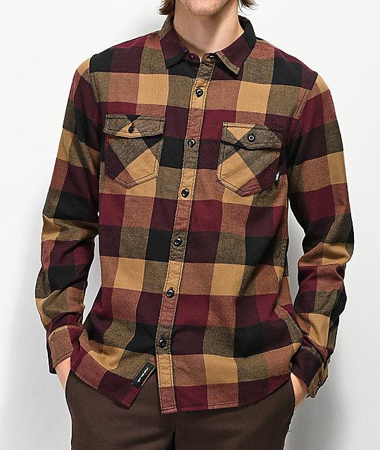 edeed5f3 Vans Box Brown & Burgundy Flannel Shirt
