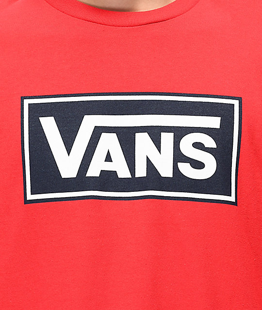 Vans Box Vee Racing Red Long Sleeve T-Shirt