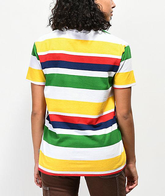 87e58b5d2e6f1b ... Vans Boyfriend Rainbow Stripe T-Shirt