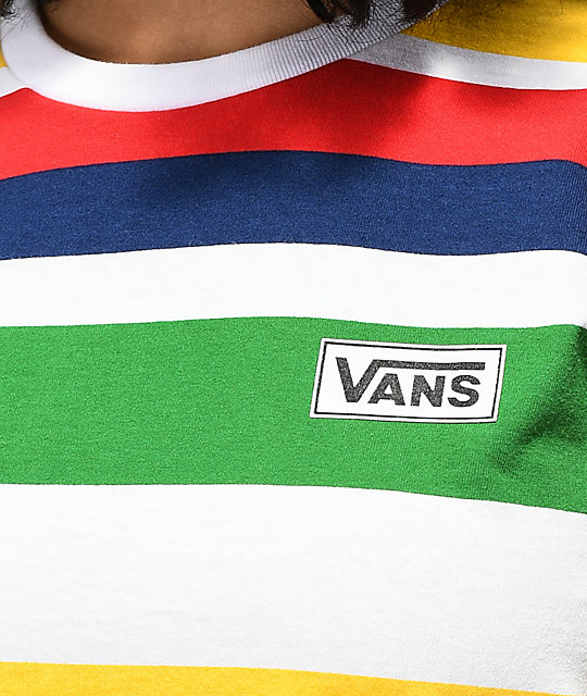 24c8bfb2533236 ... Vans Boyfriend Rainbow Stripe T-Shirt ...
