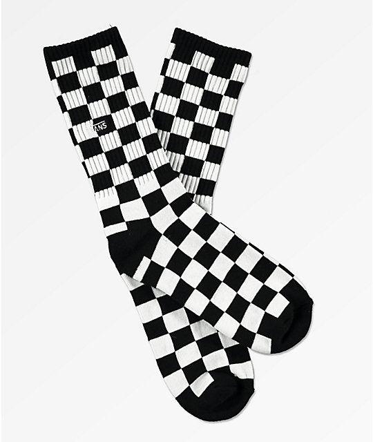03f678514d478c Vans Boys Black   White Checkerboard Crew Socks
