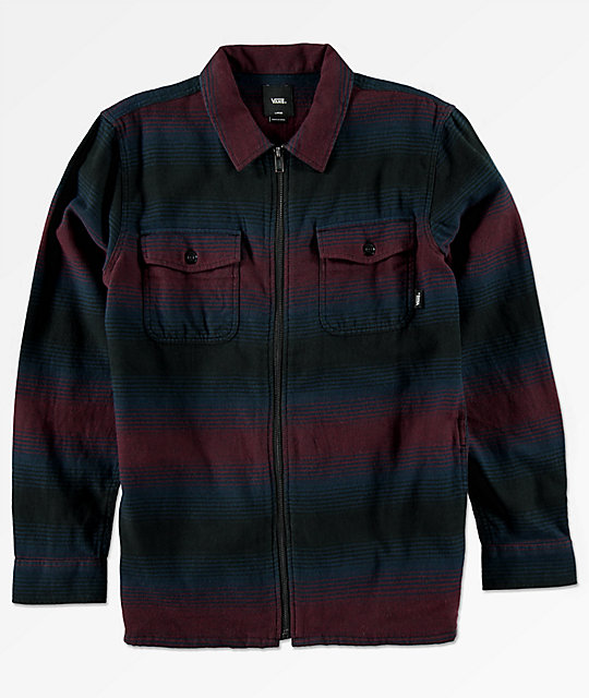 Vans Boys Brewster Port Royale Blue Zip Up Flannel Shirt