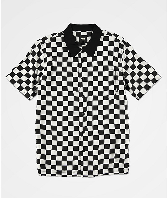 Vans Boys Checker Camp White & Black Checker Short Sleeve Button Up Shirt