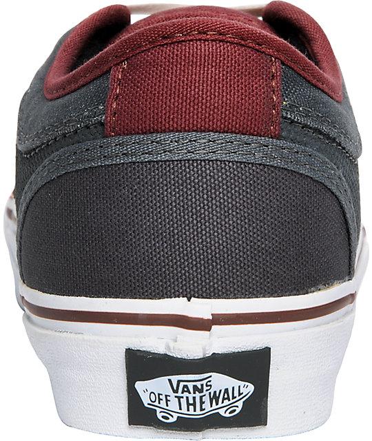 3762e26a7b8218 ... Vans Boys Chukka Low Burgundy   Charcoal Shoes ...