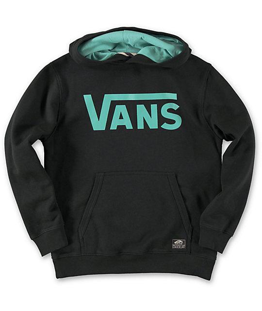 Vans Boys Classic Black \u0026 Teal Pullover Hoodie