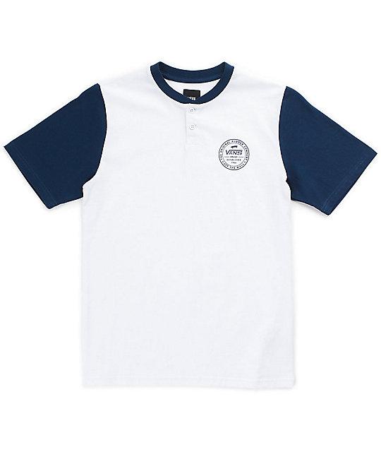 ff9f493d Vans Boys Denton Blue & White Henley T-Shirt