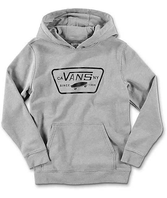 1e20fbdb Vans Boys Full Patch Front Heather Grey Hoodie